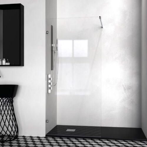 Panel fijo de ducha frontal modelo Nazca en cristal