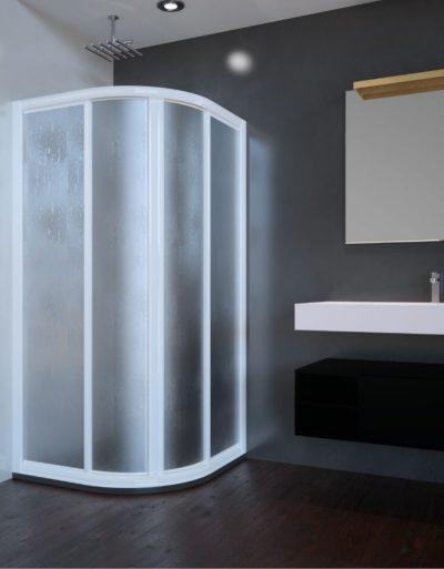 Mampara de duchua circualr acrílica. Modelo Paris