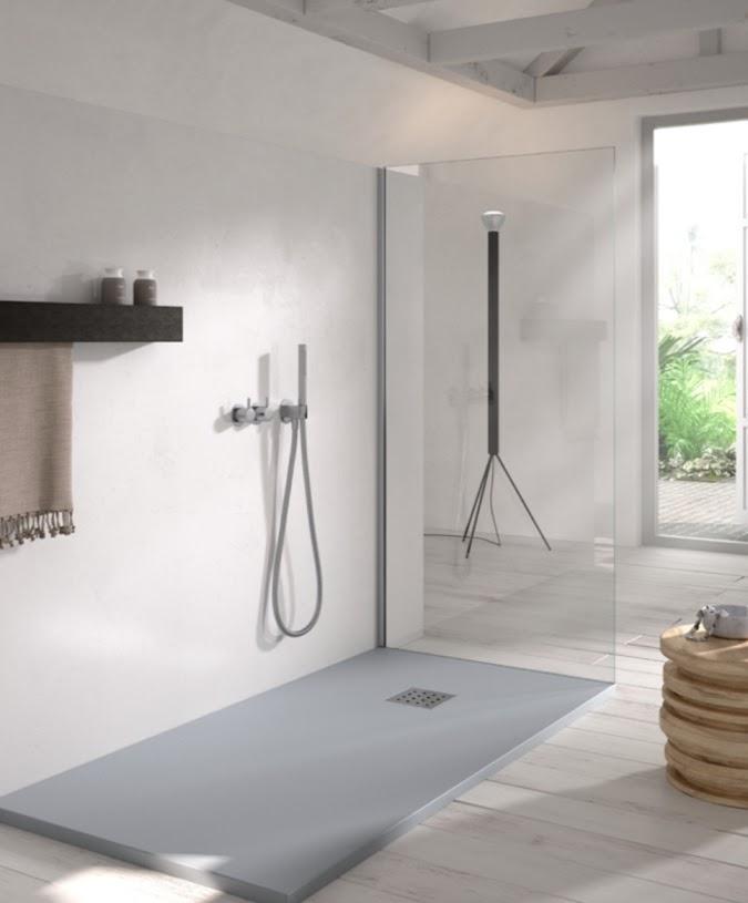 Plato de ducha liso de resina mineral
