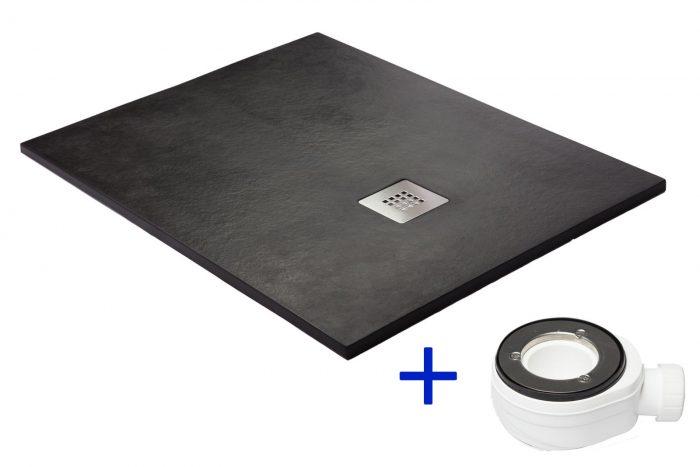 Plato de ducha en color negro. Fabricado en resina con cargas minerales.