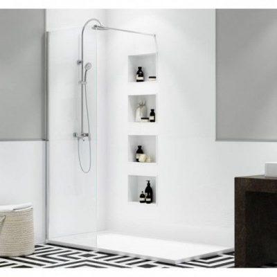 Panel de ducha fijo con perfil y accesorios en Plata alto Brillo. Vidrio 8mm. Antical.